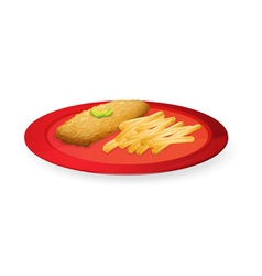 patice and french fries in plate vector image
