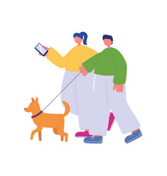 people activities young couple with smartphone vector image