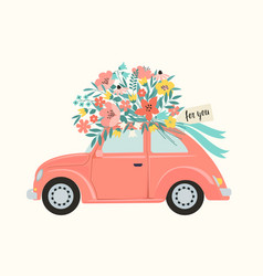 Pink retro toy car delivering bouquet flowers vector