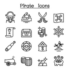 pirate icon set in thin line style vector image