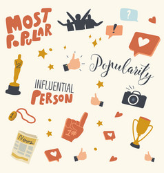 popularity and fame icons set cinema award vector image