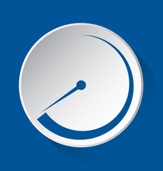 Pressure gauge - simple blue icon on white button vector