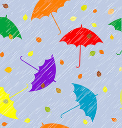 Rainy autumn background with umbrellas and leaves vector image