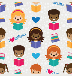 reading kids seamless pattern vector image