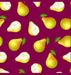 realistic detailed 3d whole pear and slice vector image