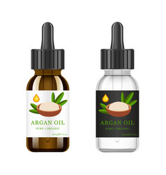 Realistic white and brown glass bottle with argan vector