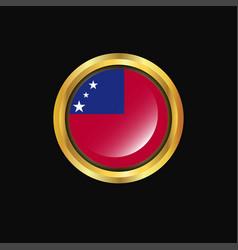 Samoa flag golden button vector