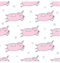 seamless pattern background cute pig as pegasus vector image