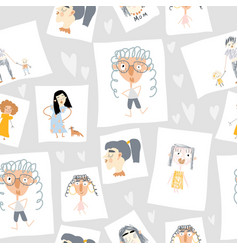 seamless pattern hand drawn portraits of vector image