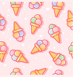 seamless pattern ice cream pink vector image