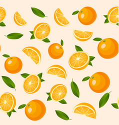 seamless pattern with oranges summer vector image