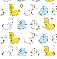 seamless wallpaper Easter bunnies on a white vector image