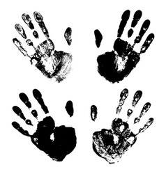 Set black art hand prints grunge vector