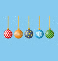 set christmas balls on white background vector image