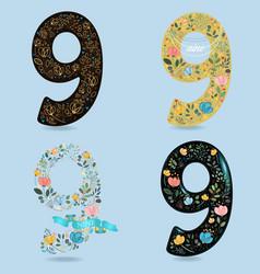 Set of graceful floral numbers nine vector