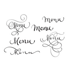 Set of word menu on white calligraphy lettering vector