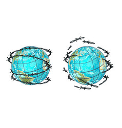 Set planet earth in barbed wire and without vector