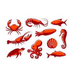 Set sea creatures icons crab shrimp tuna vector