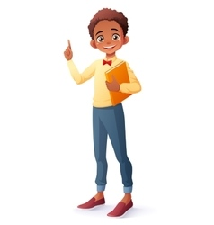 smart African boy index finger pointing up vector image