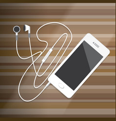 Smartphone with earphone vector
