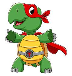 Smiling superhero turtle cartoon character vector