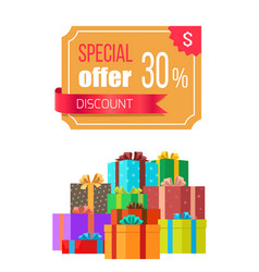 special offer 30 off discount emblem gift box vector image