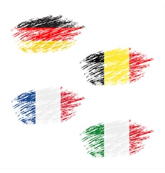 The Belgian German French and Italian flag vector image