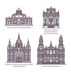 Thin line church and cathedral europe religion vector