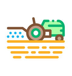 tractor on field icon outline vector image