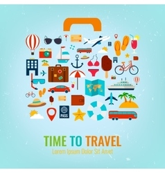 Travel holiday vacation suitcase Travel and vector image