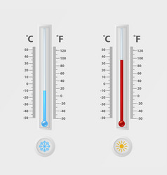 two realistic 3d celsius and fahrenheit vector image