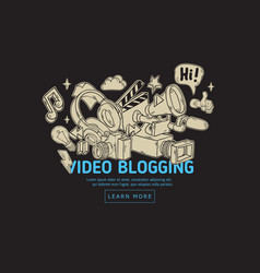 Video blogging web cover design with isolated vector