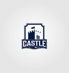 vintage castle logo in shield design vector image