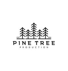 vintage line art pine spruce tree logo design vector image