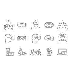 virtual reality linear icons set vector image