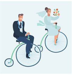 wedding invitation card with couple on bike vector image