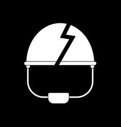 White icon on black background broken military vector