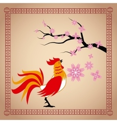 year rooster chinese calendar sakura flower vector image