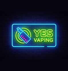 Yes vaping neon sign zone vaping neon sign vector