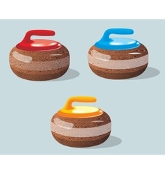 Curling stones sport game Ice Rink vector image