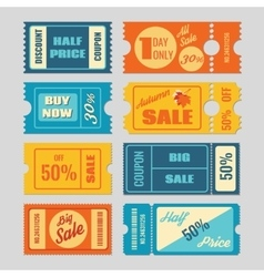 Discount coupon sale tickets set vector image