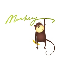 Monkey Hanging on Vine with Banana Lettering vector image