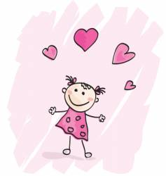 small girl with hearts vector image vector image