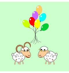 Cartoon sheep and ram with colorful balloons vector image vector image