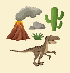 dinosaurs elements cartoon vector image