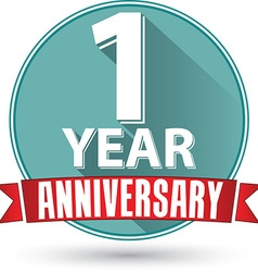 Flat design 1 year anniversary label with red vector image