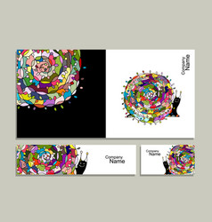 greeting card with art snail design vector image