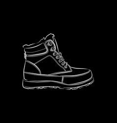 Men winter boots on black background vector