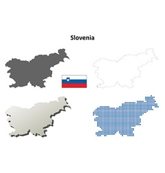 Slovenia outline map set vector image vector image