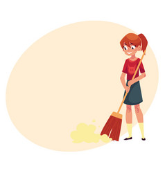 teenage girl helping to clean house sweeping vector image